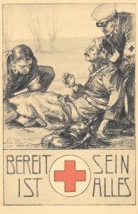 Scarce WW1 German Bereit sein ist Alles, Rotes Kreuz Sammlung 1914, Red Cross