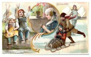 Holland Windmills Kids Sledding Dike Arbuckle Coffee Victorian Trade Card *VT16