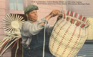 Cherokee Indian Basket Weaver - Qualla Reservation NC, North Carolina - Linen