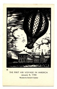First Air Voyage in America - January 9, 1793 in Philadelphia, PA