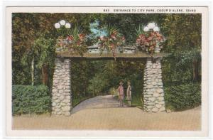 Entrance City Park Coeur D'Alene Idaho 1920s postcard