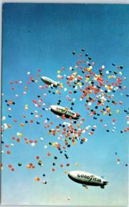 Akron, Ohio Postcard GOODYEAR AERIAL AMBASSADORS Blimps & Balloons 1983 Cancel