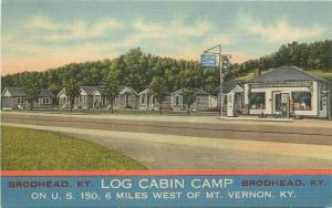 Cline Log Cabin Camp US 150 Mt Vernon Kentucky 1940s Postcard 3220
