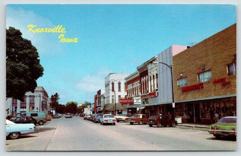 Knoxville Iowa~Main Street~Harrison's Variety Store~Baker Walgreen's~1970s Cars