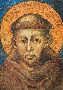 Postcard Religion icon statue painting sculpture Franz von Assisi monk head