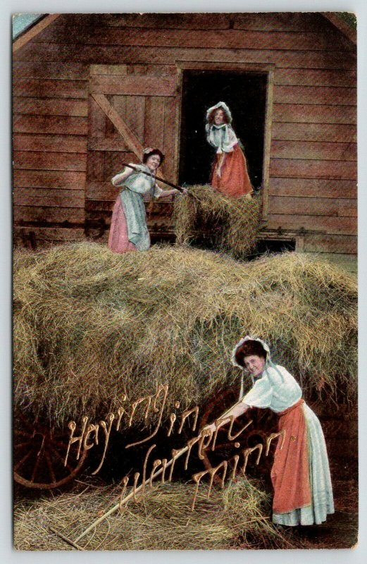 Haying in Warren Minnesota~Sunbonnet Ladies Toss Hay into Barn~Pitchforks~1910