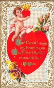 Valentine~Gossamer Cupid Holds Flaming Heart~Pansies~Roses~Gold White Lace Back