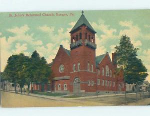 Unused Divided-Back CHURCH SCENE Bangor - Near Easton Pennsylvania PA A8658