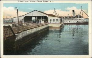 Penns Grove NJ Wilson Line Wharf c1920 Postcard