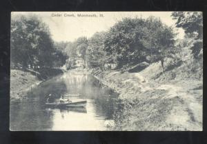 MONMOUTH ILLINOIS CEDAR CREEK BOATING VINTAGE ANTIQUE POSTCARD ILL.