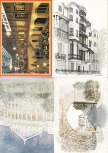 Covent Garden Park Lane 3x Central London Watercolour Postcard s