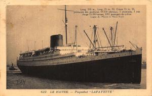 Le Havre Paquebot Lafayette Postcard