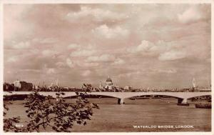 Waterloo Bridge, London, England, Early Real Photo Postcard, Unused