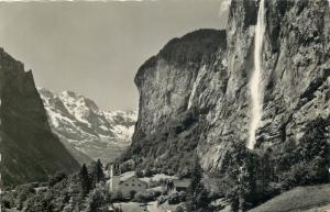 Switzerland photo postcard E. Geyger Kirche Lauterbrunnen