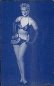 Sexy Burlesque Showgirl Semi-Nude 1920s-30s Arcade Exhibit Card Blue Tint #17