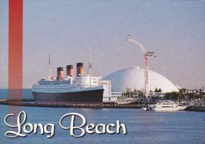 California Long Beach Greetings Showing Queen Mary