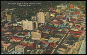 Aerial View of Main Business Section, Charlotte, NC. Curt Teich linen card