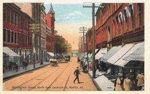 Halifax N.S. Barrington Street Storefronts Trolley Postcard