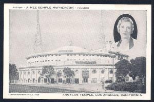 Angelus Temple Los Angeles California unused c1939
