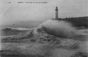 Brest, La Jetee un Jour de Tempete, early postcard unused