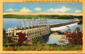 Maryland Conowingo Dam and Power House Near Bel Air and Havre de Grace Curteich