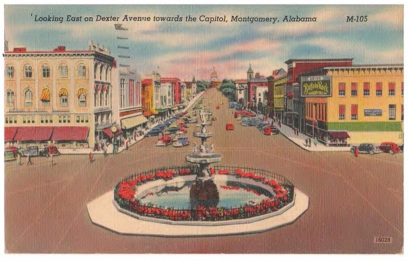 MONTGOMERY ALABAMA DEXTER AVE TO THE CAPITOL 1945 VINTAGE POSTCARD