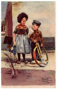 Valentine  Dutch Boy on Unicycle