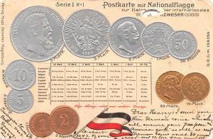 Coin Postcard, Old Vintage Antique