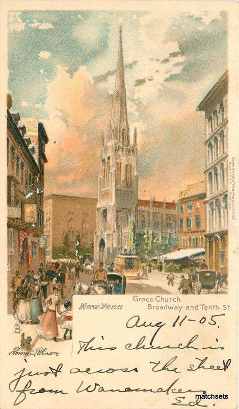 c-1905 Private Mailing Grace Church Trolley Broadway New York postcard 7900