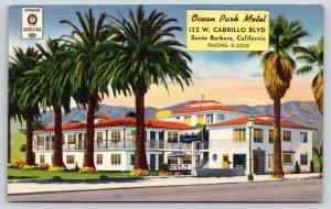 Santa Barbara California~Ocean Park Motel~Bright Bold Colors Linen~1950 Postcard
