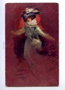 189794 ART NOUVEAU Belle Lady by OCCHIPINTI Vintage TUCK #1221