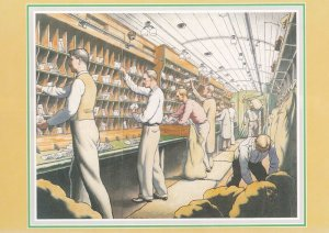 Travelling Post Office Train Sorting Room Staff Royal Mail Postcard
