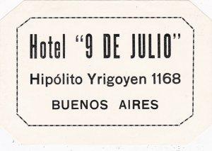 Argentina Buenos Aires Hotel 9 De Julio Vintage Luggage Label sk4080