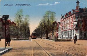 Netherlands Rotterdam Mathenessenlaan Tram Cable Car Cyclist