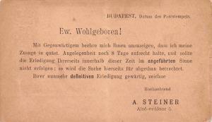 Budapest Republic of Hungary Ew Wohlgeboren, A Steiner Budapest Ew Wohlgebore...