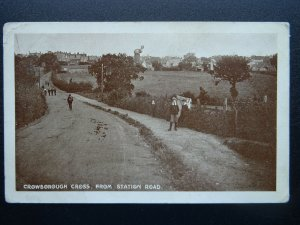East Sussex CROWBOROUGH CROSS from Station Road showing WINDMILL c1915 Postcard