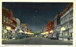 Night View Sandusky Street looking North - Delaware, Ohio - pm 1947