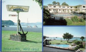Anchorage Motel Paihia Bay of Islands NZ Te Ata O-Tu Postcard D54 *As Is