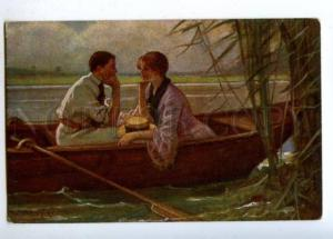 177460 Fishing LOVERS in BOAT by MENZLER Vintage colorful PC