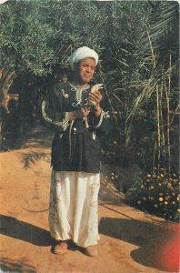 Postcard Tunisia native man ethnic type folklore snakes owner
