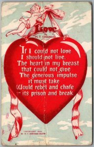Vintage VALENTINE'S DAY Postcard LOVE by M.T. Sheahan 1909 Cancel *Creased