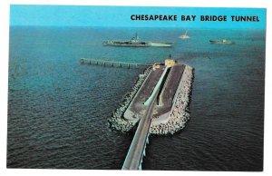VA Cheaspeake Bay Bridge Tunnel Man Made Island US Route 13  Postcard