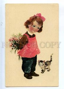233303 HUNGARY Demjen Zsuzsa KITTY Kitten GIRL old postcard