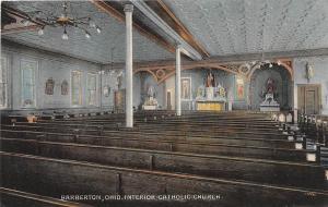 D35/ Barberton Ohio Postcard c1910 Interior Catholic Church Building