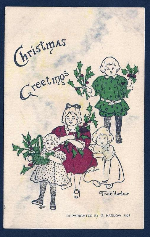 Christmas Greetings Children s/Grace Harlow used c1911