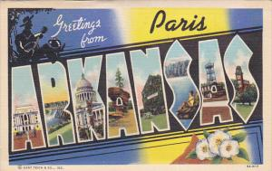 Large Letter Greetings , ARKANSAS , PU-1943 : PARIS overprint