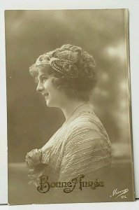 RPPC Pretty Woman Side Profile with Flowers & Hair Piece 1909 Postcard I19