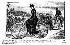 1886 Man on Penny-Farthing~Gal on 1st Practical Safety Bicycle RPPC 1978 REPRINT