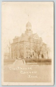 Carroll Iowa~Portrait of County Court House~1927 Demolished 1965~RPPC Postcard