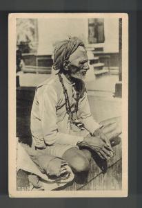 Mint Calcutta India BW RPPC Postcard Sitting Fakir